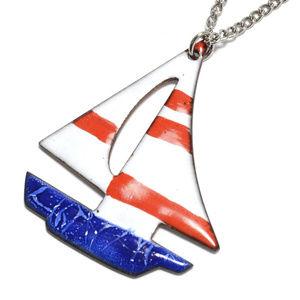 Vintage Americana Summer Enamel Sailboat Necklace